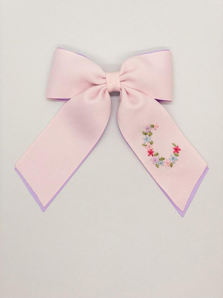 Double Layer Spring Floral Initial Hand-Embroidered Bow (after Easter Delivery)