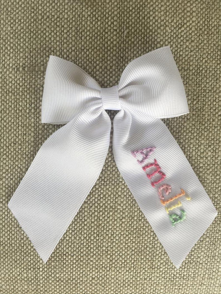 Large Hand Embroidered Name Bow