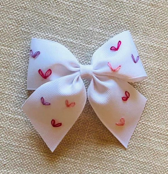 Hearts Hand Embroidered Bow (Multiple color options- after Easter Delivery)