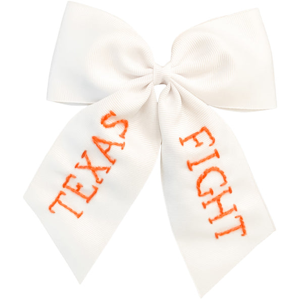 Texas Fight Embroidered Bow (multiple sizes)
