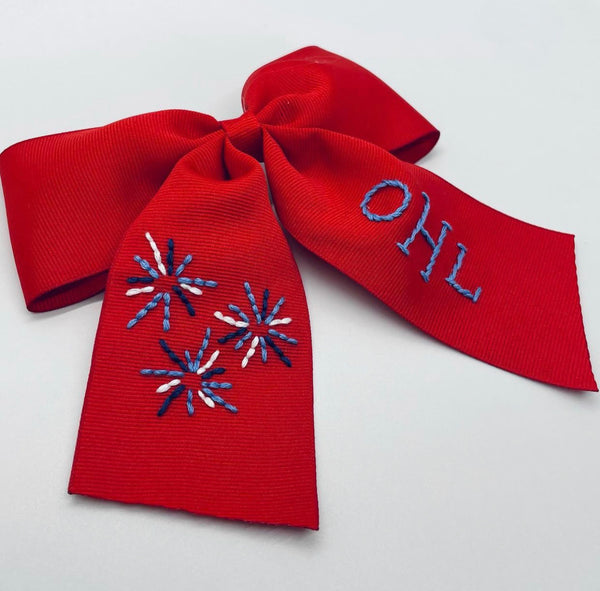 Fireworks Hand- Embroidered Bow
