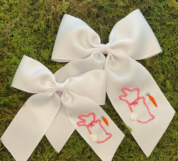 Bunny Embroidered Bow (multiple sizes)
