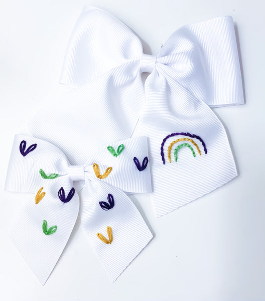 Hearts Hand Embroidered Bow (Mardi Gras Colors)