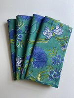 Emerald block print napkins (set of 4)