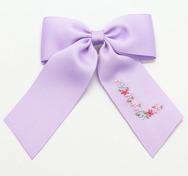Single Layer Spring Floral Initial Hand-Embroidered Bow (after Easter Delivery)