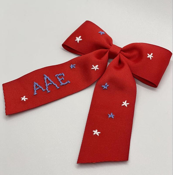 Red White and Blue Stars Hand- Embroidered Bow