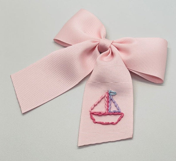 Pastel Sailboat Hand- Embroidered Bow