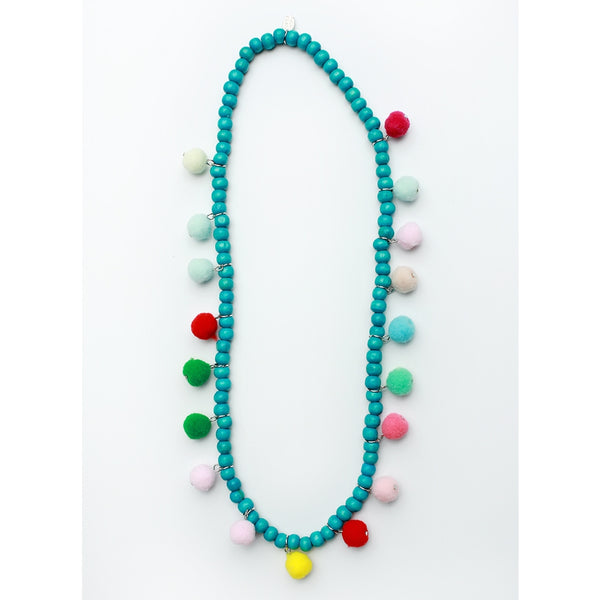 Turquoise Wooden Pom Necklace