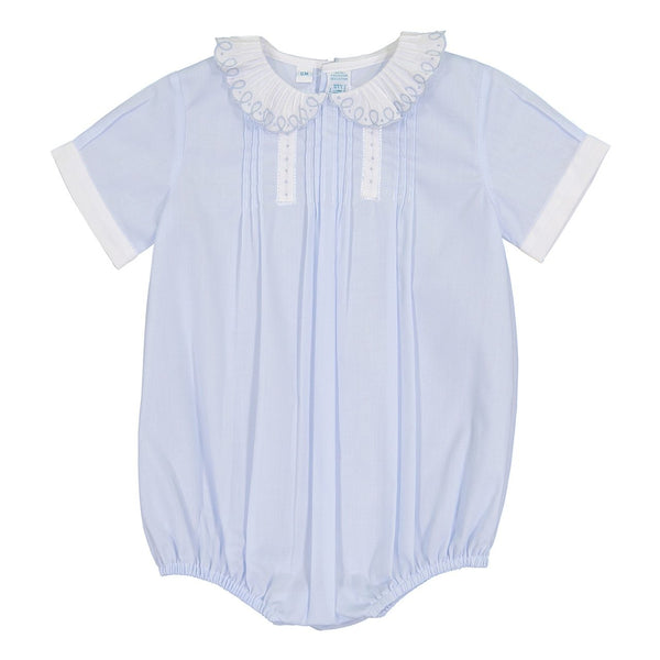 Boys Vintage Scalloped Collar Bubble - Blue/White (from Feltman Brothers)