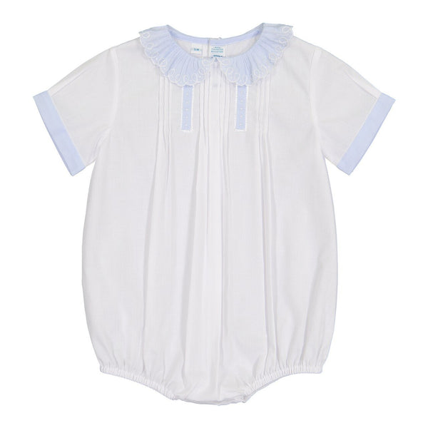 Boys Vintage Scalloped Collar Bubble  - White/Blue (from Feltman Brothers)