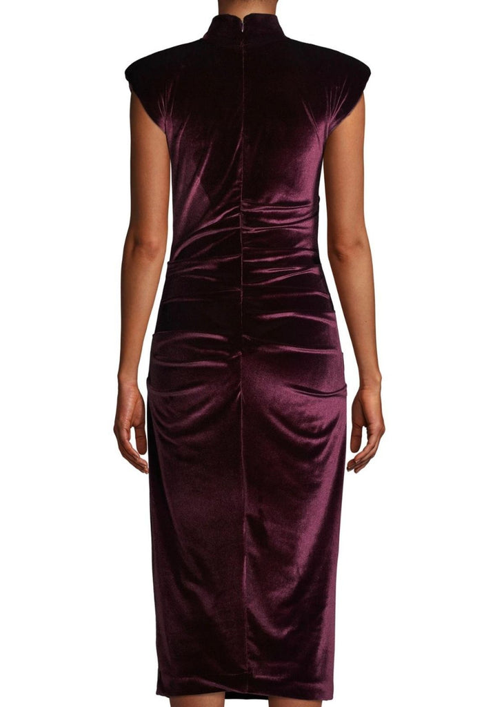 Mock neck Stretch Velvet Midi Length Sheath Dress in Burgundy. Cap Sleeve