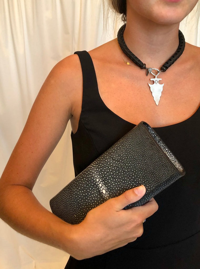 Carriage House Black Snake Vertebrae Necklace with Silver Arrowhead Charm and Gray Stingray Clutch