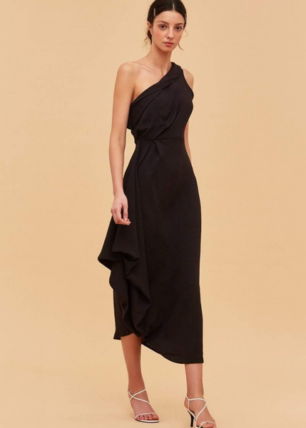 Carriage House C/MEO Collective Go On Dress One Shoulder Midi Dress in Black