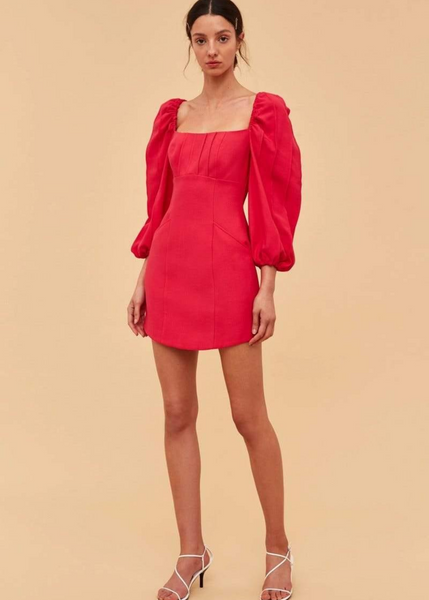 Carriage House C/MEO Collective Over Again Long Sleeve Mini Dress in Fuchsia Square Neckline