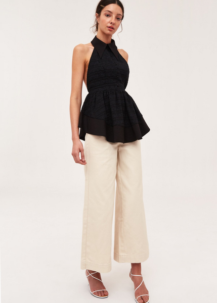 Carriage House C/MEO Collective Black Peplum My Way Halter top