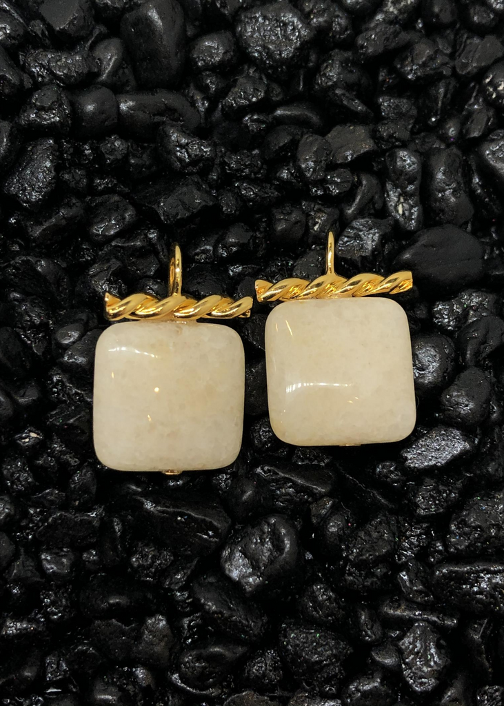 Square White Quartz Earrings with Gold Detail.