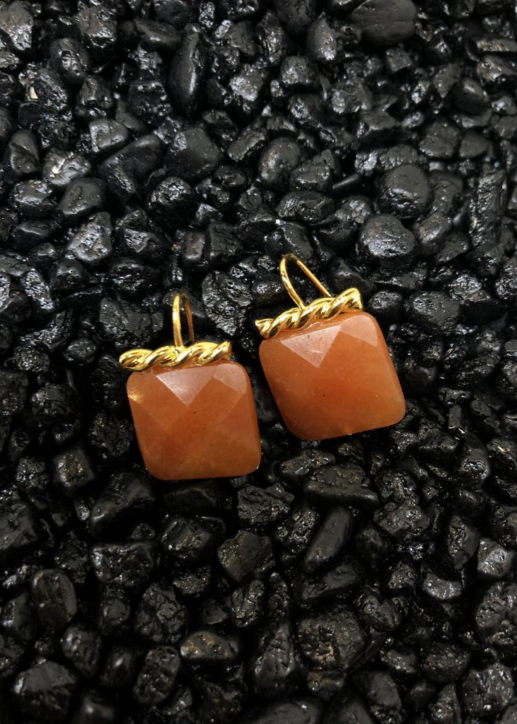Square Carnelian Earrings with Gold Detail.