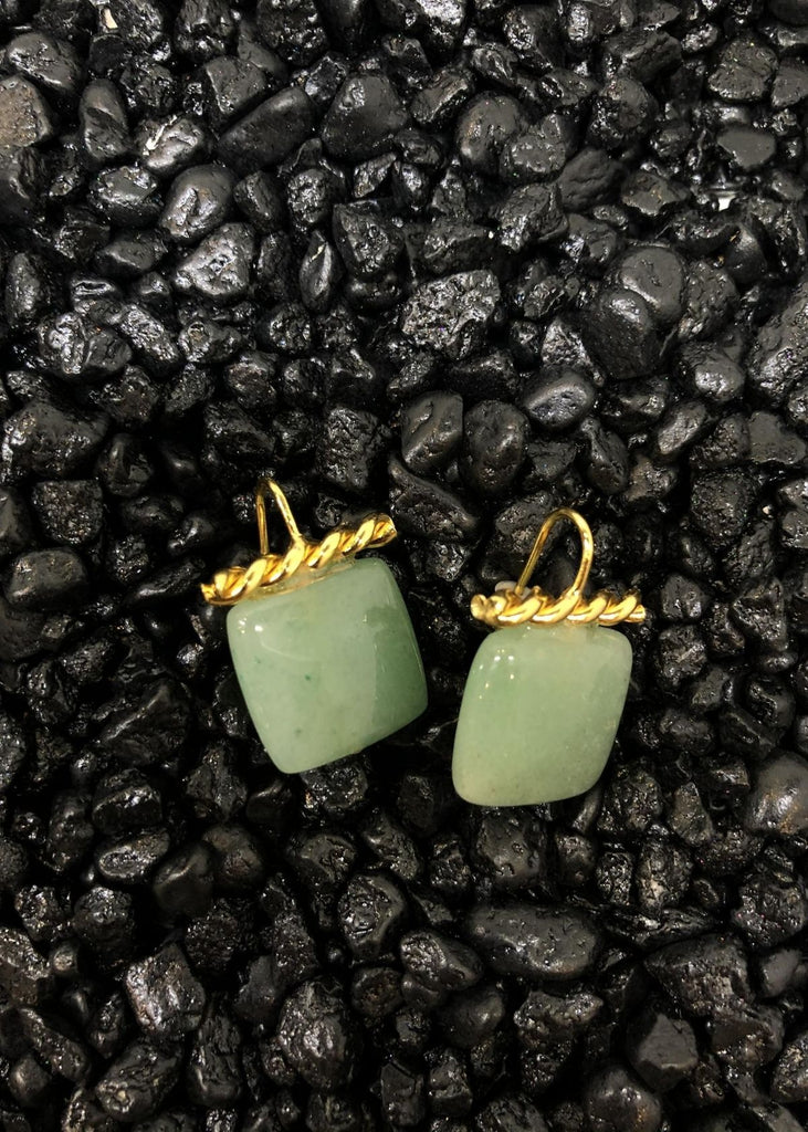 Square Jade Gemstone Earrings with Gold Hardware.
