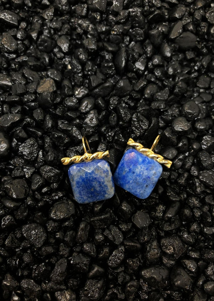 Square Lapis Earrings with Gold Detail.