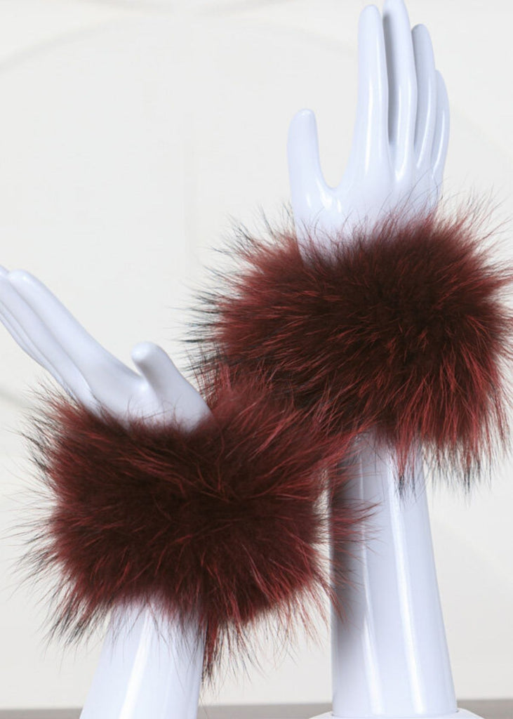 Dana Stein Snap on Raccoon Cuffs in Burgundy, Purple, Black or Taupe.