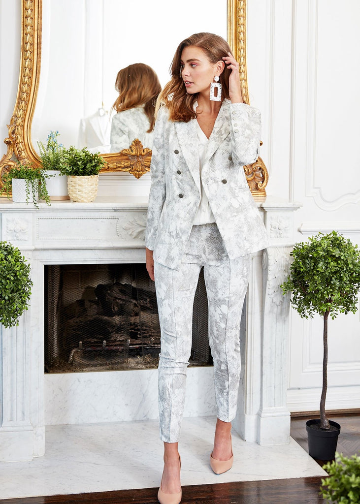Carriage House Light Gray and White Snakeskin Print Ankle Length Slim Pant