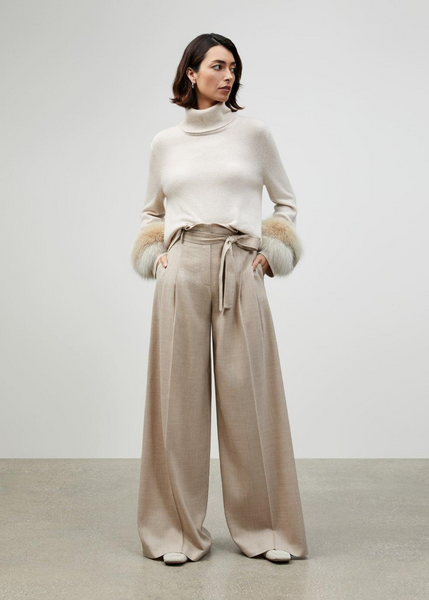 Carriage House Wool Paper Bag Waist Beige Wide Leg Pant with Tie Belt.