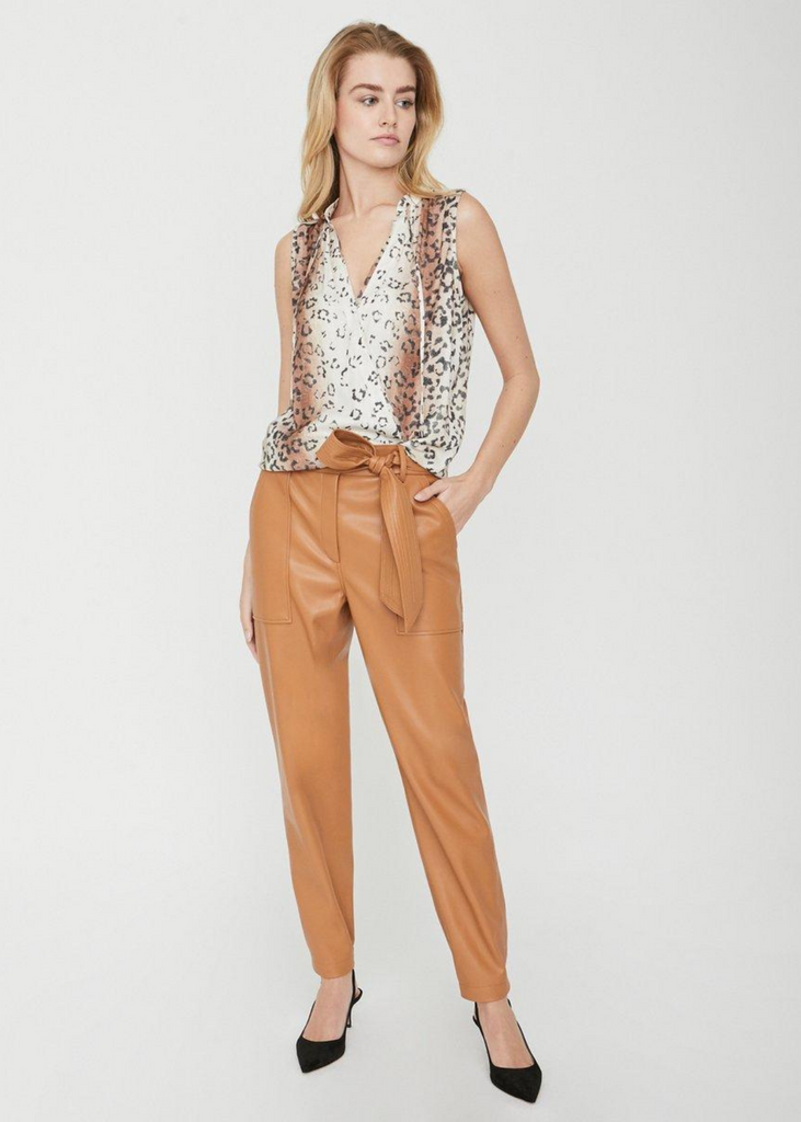 Carriage House Mayes Sleeveless Wrap Top in Neutral Leopard Print with V Neckline by Brochu Walker