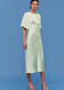 Carriage House C/MEO Collective My Way Short Sleeve Bias Cut Relaxed Fit Midi Dress in Citron