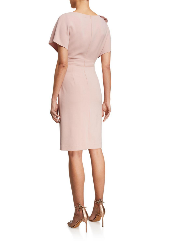 Carriage House Teri Jon Knee Length Short Sleeve Dusty Pink Dress with Flower on the Shoulder