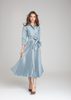 Carriage House Teri Jon Pleated Shirt Dress in Slate