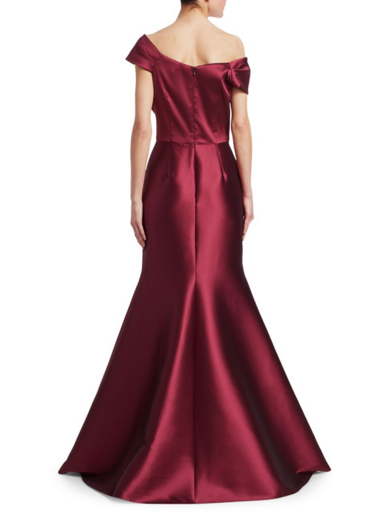 Carriage House Teri Jon Asymmetrical Shoulder Stretch Gown in Merlot