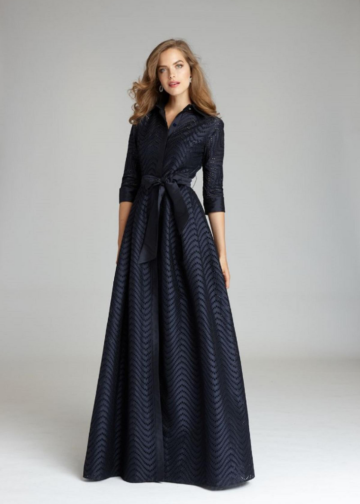 Carriage House Teri Jon Shirt Waist Taffeta Chevron Pattern Eyelet Floor Length Navy Gown