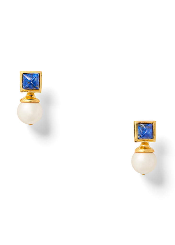 Square Blue Lapis Top with White Pearl Drop, Gold Hardware.