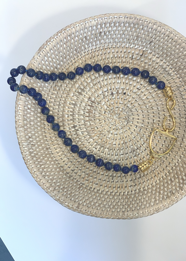 Carriage House 20 Inch Lapis Necklace with Gold Stirrup Hardware