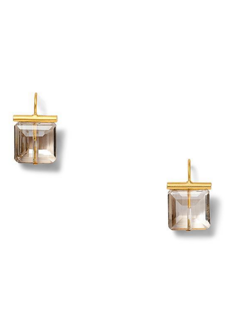 Carriage House Small Square Smokey Crystal Earring with Gold