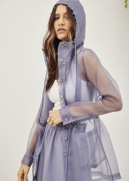 Carriage House Inclán Studio Inclán Blue Silk Organza Jacket with Hood