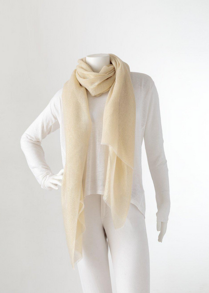 Carriage House Qasmyr Hand Wover Enya Glitter Lurex Cashmere Scarf Gold and Ivory