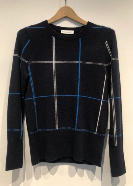 White and Warren Long Sleeve Navy Plaid Cashmere Sweater