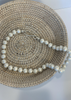 24 inch White Pebble Pearl Necklace with Silver S-Hook Closure.