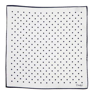 White dotted pocket square made of pure silk
