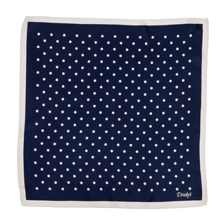 Blue dotted pocket square made of silk