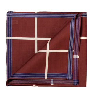 "Reddish brown patterned pocket square made of ""Socotra"" cotton"