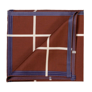 "Brown patterned pocket square made of ""Socotra"" cotton"