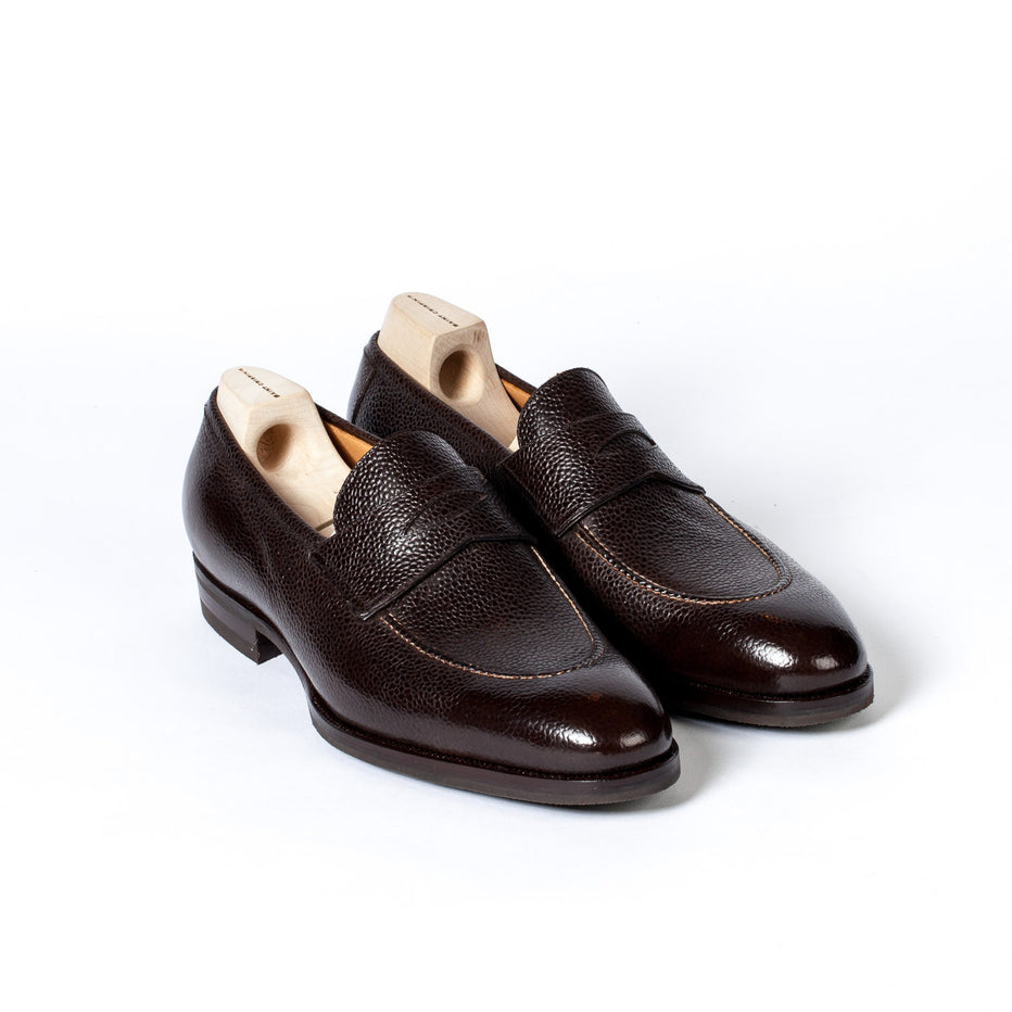 c6a39d8c646 Saint Crispin s Penny loafer made of dark brown Scotch Grain calfskin -  hand-polished