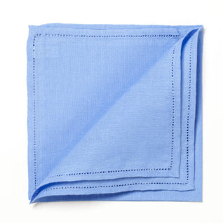 "Light blue linen pocket square ""Jour Venise"""