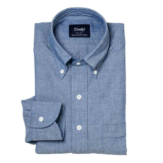 Denimblaues Chambray-Hemd mit Button Down Kragen - regular fit