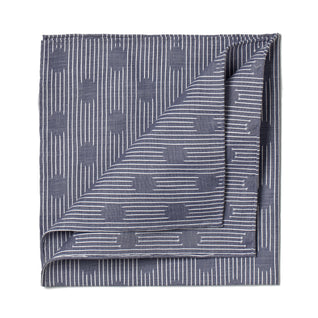Blue patterned cotton pocket square