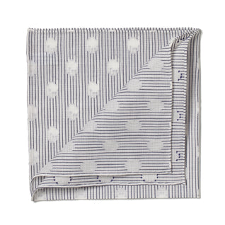 Blue and white striped cotton pocket square