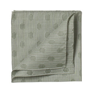 Green patterned cotton pocket square