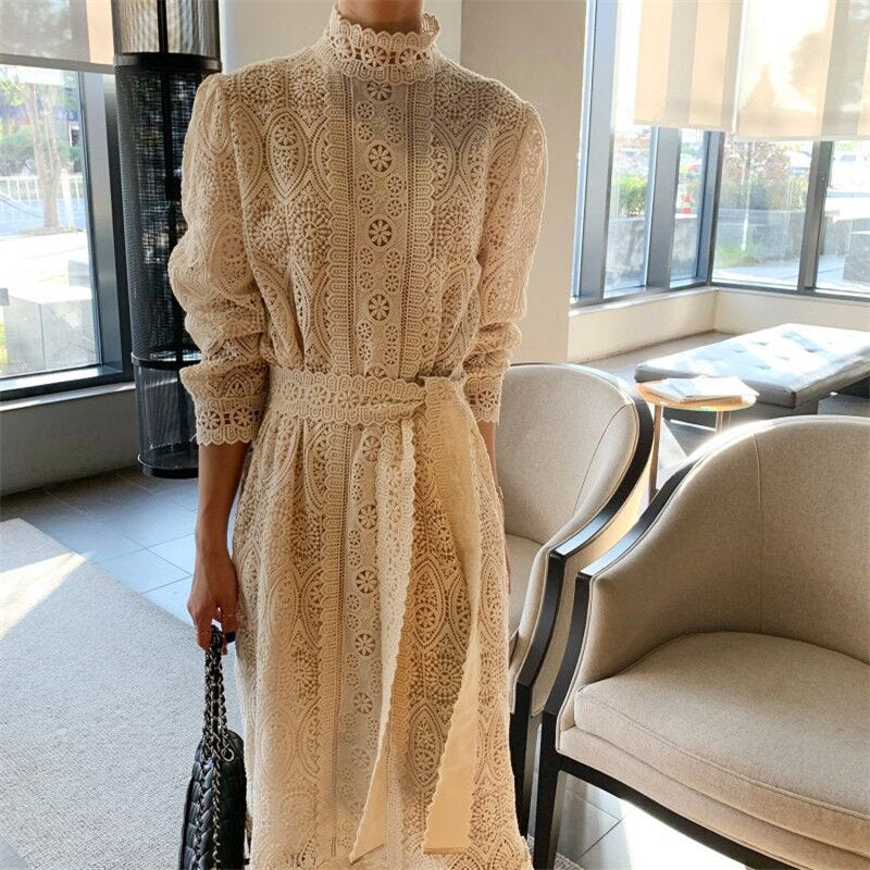 HziriP 2020 Stylish Lace All-Match Korean Elegant Lace-Up Chic Hook Flowers Women Sweet Long Dresses